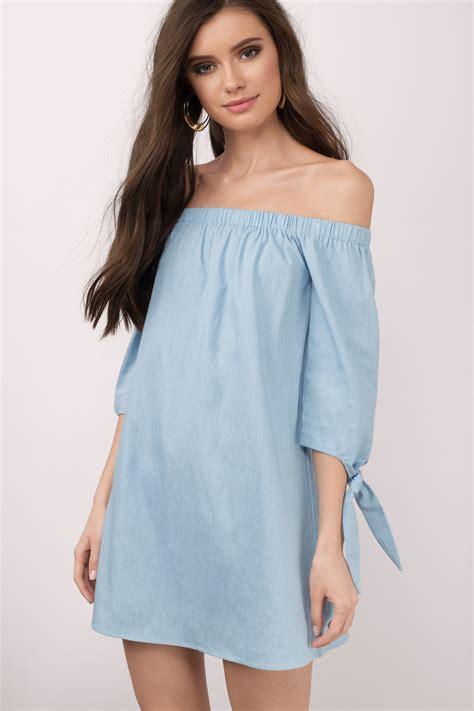 light blue shift dress blue dress ots dress denim dress with sleeves