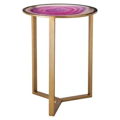 Pink Accent Table by Threshold Glass Faux Agate Accent Table Pink