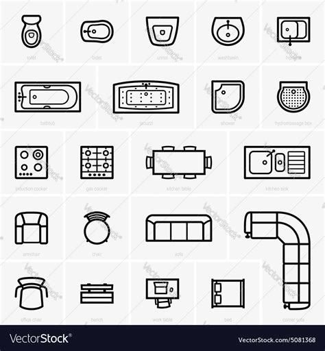 Designer Kitchen Chairs Top View Furniture Icons Royalty Free Vector Image