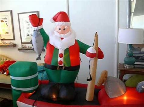 inflatable santa in boat gemmy santa on fishing boat