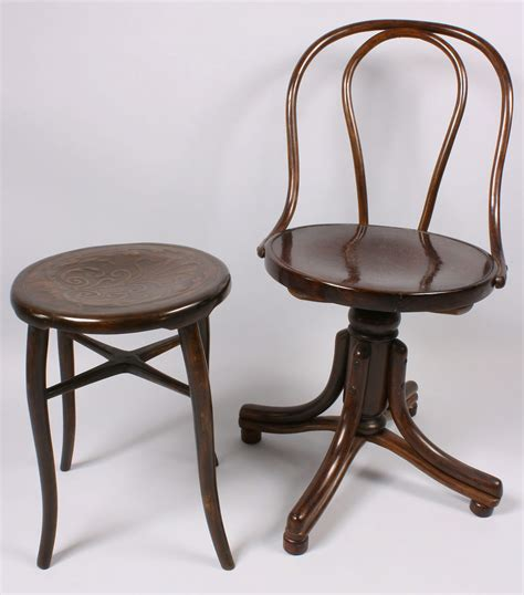 Bent Wood Stool by Lot 148 Thonet Bentwood Chair And Stool