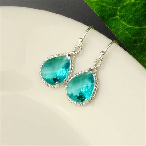 sea green earrings teal blue green bridesmaid