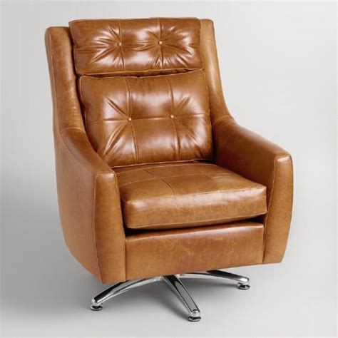 Brown Leather Swivel Chair by Brown Tufted Leather Swivel Chair