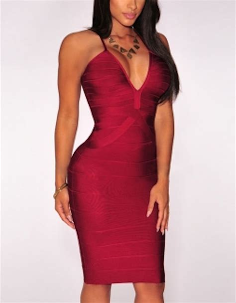 V Neck Strappy Midi Dress wine strappy v neck midi bandage dress