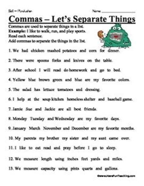 Commas In A Series Worksheets by 1000 Images About Commas On Commas In A