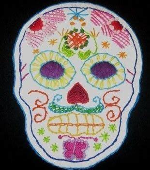 refurbed jacket  sugar skull embroidery  grommets