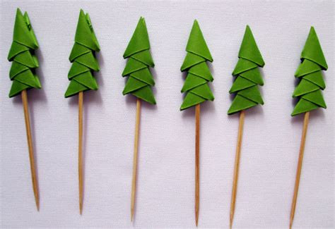 Origami Pine Tree - 24 origami pine tree shade cupcake toppers only for 5 00 usd