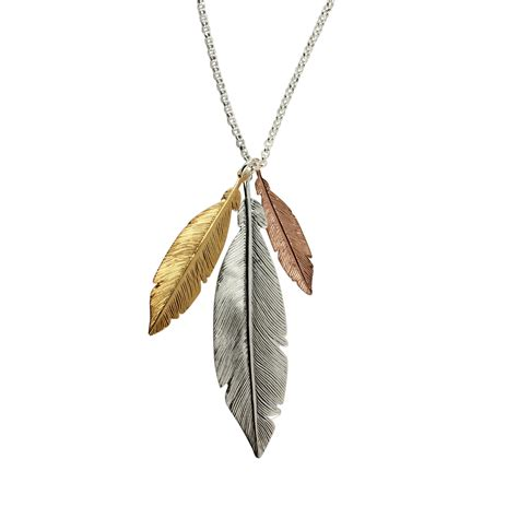 feather sterling silver necklace with yellow and