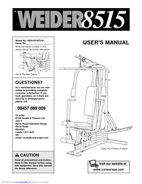 weider 8515 weevsy87210 manuals