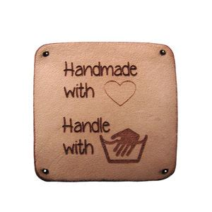 Handmade With Care - leren label 3x3cm handmade with handle with care