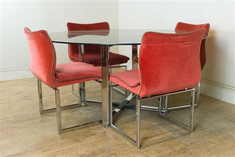 vintage chrome table and chairs vintage retro pieff glass and chrome dining table and 6