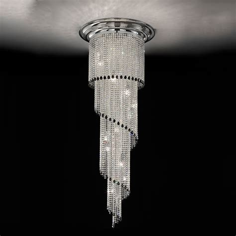 White Home Interior Design by Art Deco Style Vertical Swarovski Crystal Chandelier