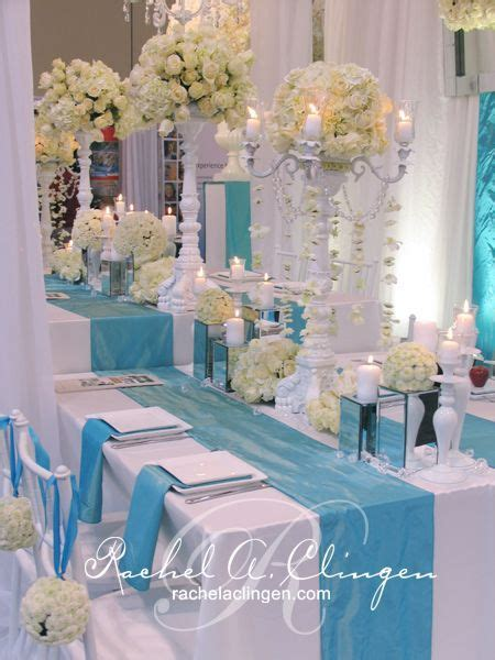 Pool Blue & Ivory Head Table   Rachel A. Clingen Wedding