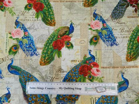 Patchwork Parade - patchwork quilting fabric peacock parade material sewing