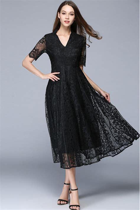 Black Slim Dress zumeet v neck slim a line lace dress black
