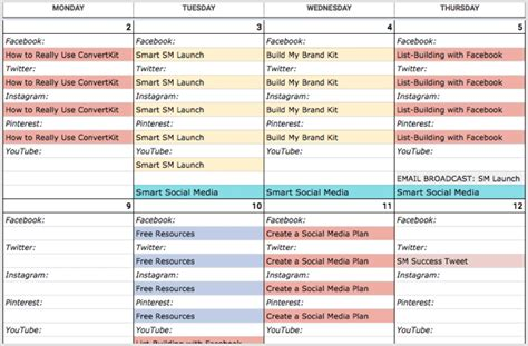 How To Create A Social Media Calendar A Template For Marketers Social Media Examiner Social Media Content Calendar Template