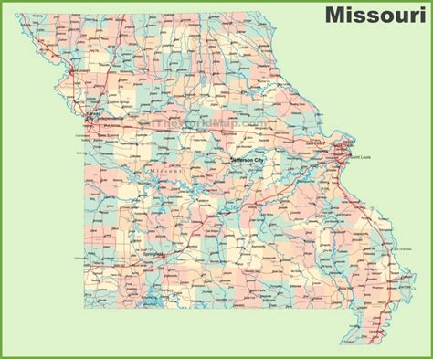 map missouri road map of missouri with cities