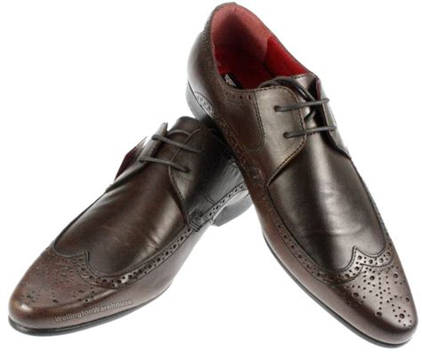 mens redtape brown leather roden fashionable brogue pointy
