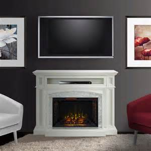 White Electric Fireplace Tv Stand Drew Infrared Electric Fireplace Tv Stand In White Cs 33wm1100 Wht