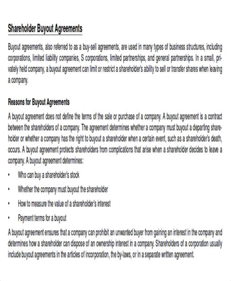 shareholder buyout agreement template sle shareholder agreement 10 exles in word pdf