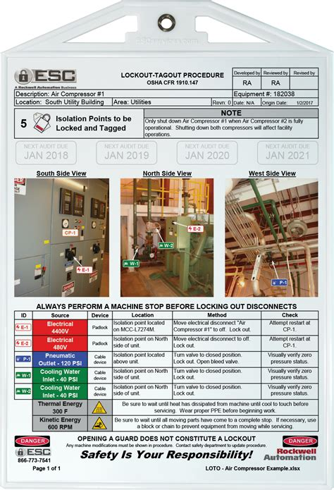 Exles Of Lockout Tagout Procedures Esc Services Lock Out Tag Out Procedures Template