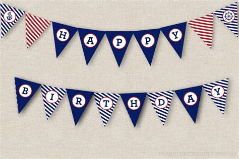 nautical birthday banner instant download printable pdf happy