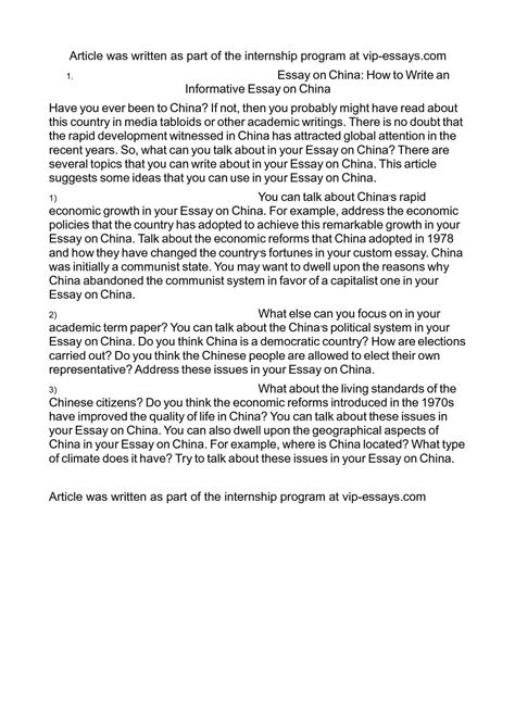 An Informative Essay by Calam 233 O Essay On China How To Write An Informative Essay On China