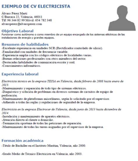 Modelo Curriculum Tecnico Electricista Ejemplo Curr 237 Culum Electricista Curr 237 Culums De Ingenier 237 A Y Desarrollo