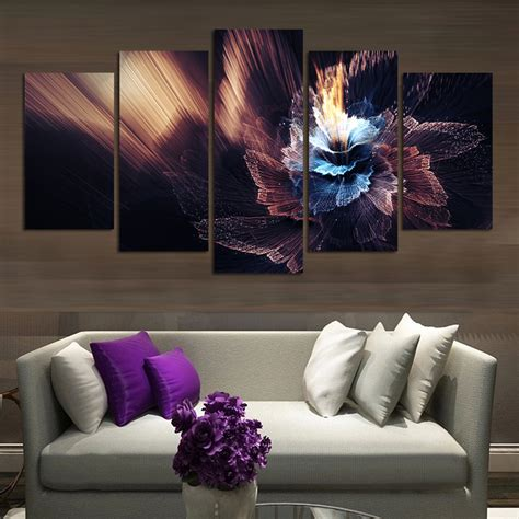 abstract hd canvas prints wall art painting home decor 2016 top design beautiful abstract fairy flower 5 panels