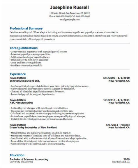 Resume Format Hr Payroll Executive 30 Executive Resume Designs
