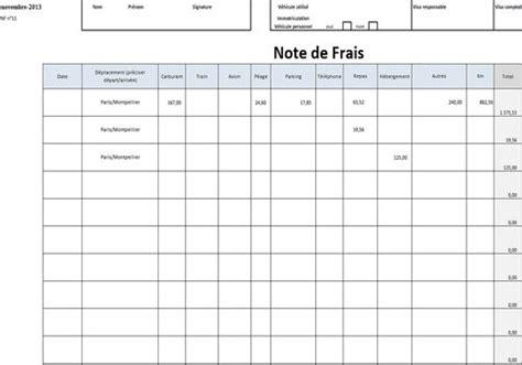 calcul frais de déplacement 4919 modele note frais deplacement document