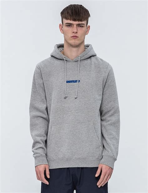 Hoodie Zipper Logo Undefeated Merah lyst undefeated original hoodie in gray for