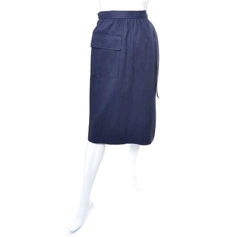 1970s vintage ysl skirt navy blue wrap skirt size