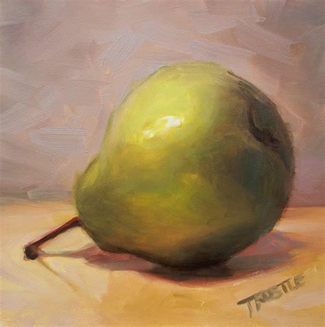 original painting fruit green pear still by pattitrostle