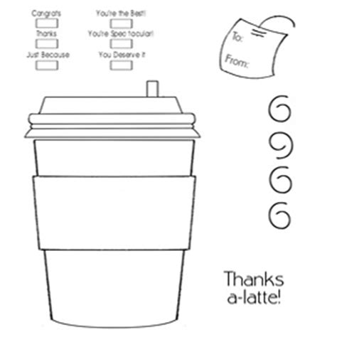 Pop Up Coffee Cup Card Cutout Template by Ivypink Diy Coffee Gc Holder
