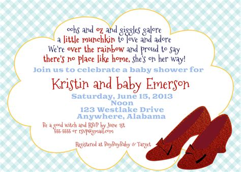 Wizard Of Oz Baby Shower by Wizard Of Oz Inspired Baby Shower Or Baby Sprinkle Invitation