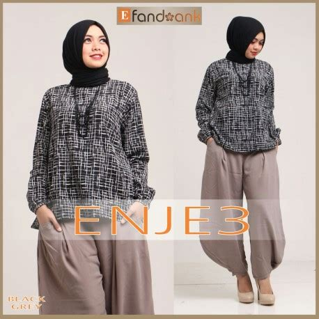 Blouse Muslim Grey Naura Pashmina enje 3 black grey baju muslim gamis modern