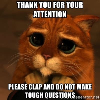 Thank You Cat Meme - thank you for your attention please clap and do not make tough questions shrek cat v1 meme
