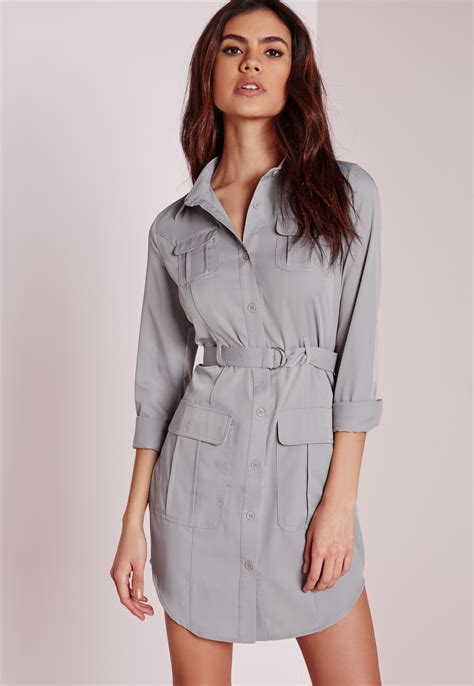 missguided exclusive belted shirt dress grey in