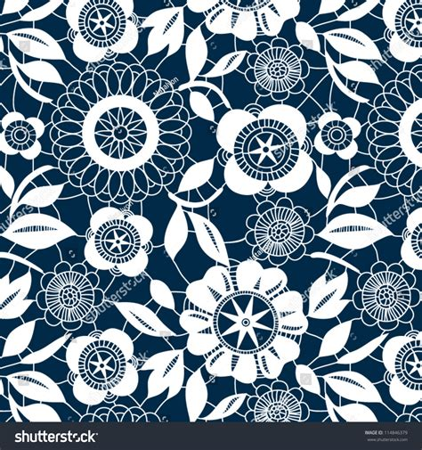 crochet pattern vector white lace crochet flowers seamless pattern stock vector