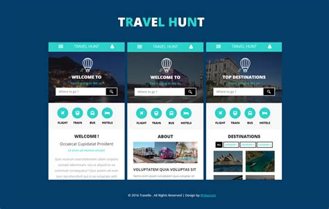 web layout for mobile travel hunt a mobile app flat bootstrap responsive web
