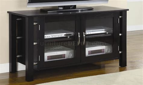 Black Tv Stand With Glass Doors Black Finish Contemporary Tv Stand W Clear Glass Doors