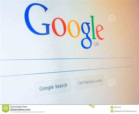 Search Engine Uk Home Page Editorial Stock Image Image 48077914
