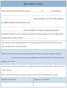 Contract Template by Contract Template For Renovation Exle Of Renovation