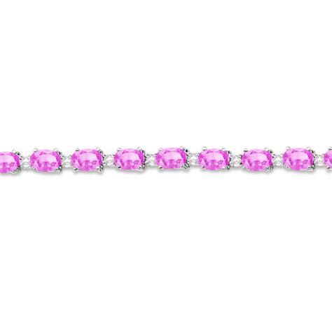 White Sapphire 12 00ct pink sapphire tennis bracelet 14k white gold 12