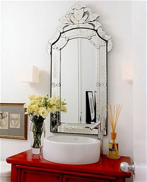 Once Daily Chic Venetian Mirrors In The Bathroom Venetian Bathroom Mirrors