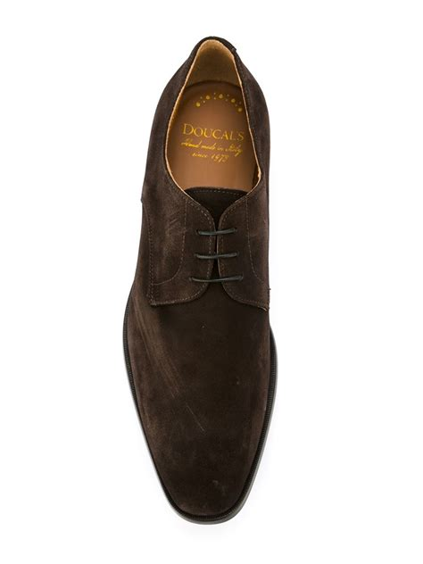 doucal s suede derby shoes in brown for lyst