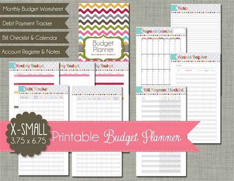 printable planner set x small printable budget planner set sized 3 75x6 75