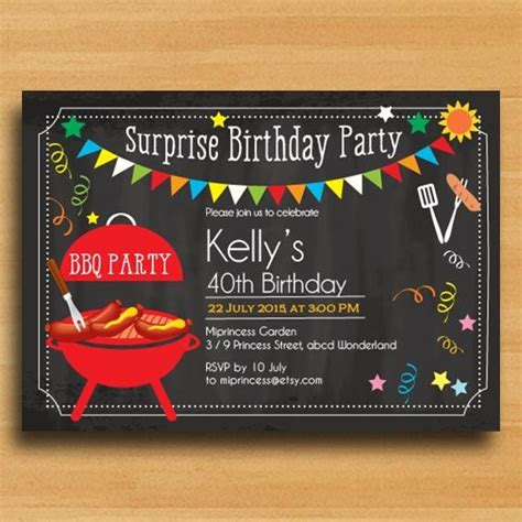 bbq birthday invitation chalkboard backyard surprise par