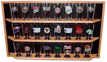 pint glass display cabinet beer pint glass display shelf 24 place custom colors ebay
